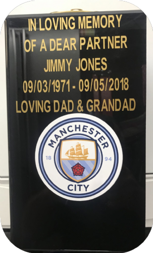 Manchester City  F. C. Square grave flower pot.